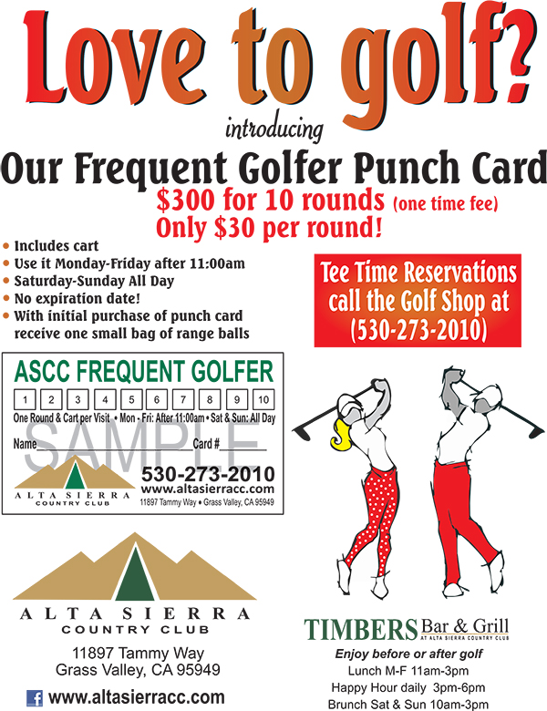 golf punch card